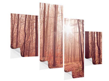 Klebeposter 4-teilig modern Sonnenuntergang im Herbstwald