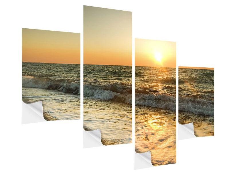 Klebeposter 4-teilig modern Sonnenuntergang am Meer