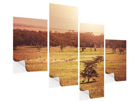 Klebeposter 4-teilig modern Malerisches Afrika