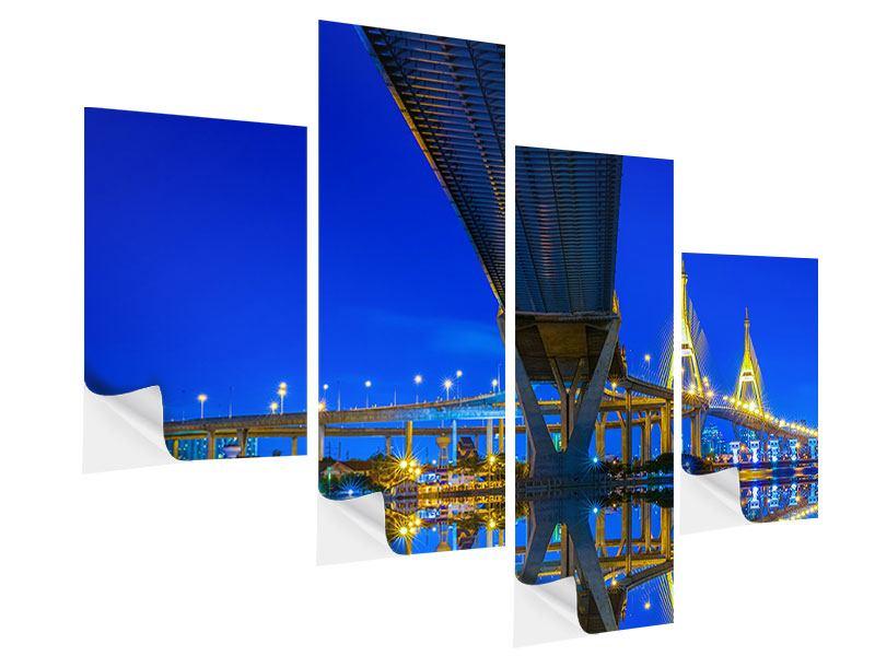 Klebeposter 4-teilig modern Bhumiboll-Brücke