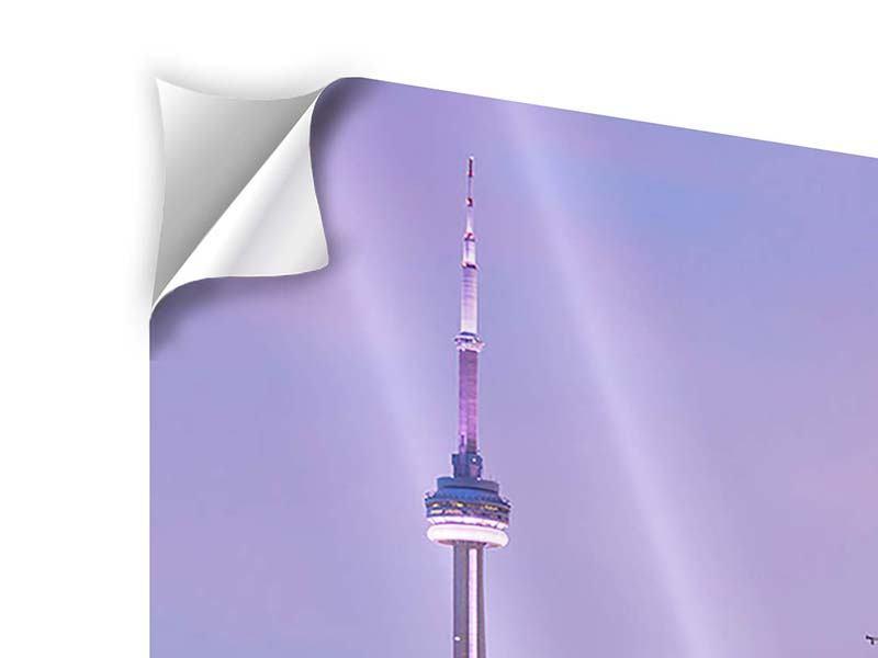 Klebeposter 4-teilig modern Skyline Toronto bei Nacht