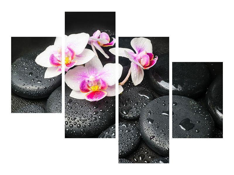 Klebeposter 4-teilig modern Feng-Shui-Orchidee Zen