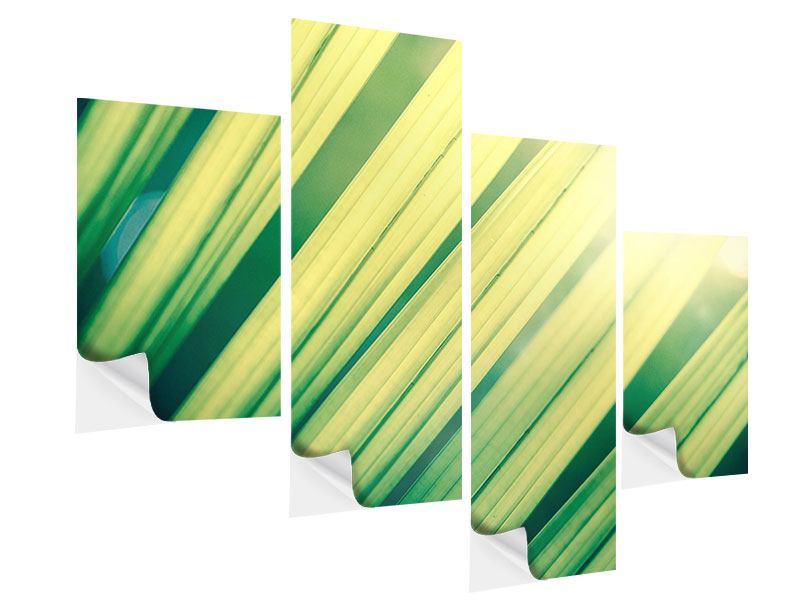 Klebeposter 4-teilig modern Beleuchtetes Palmblatt