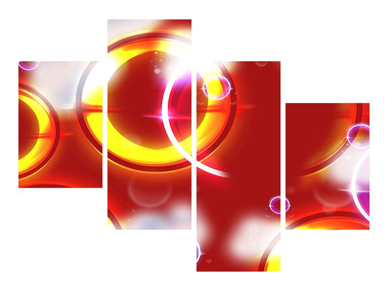 Klebeposter 4-teilig modern Abstraktes Retro