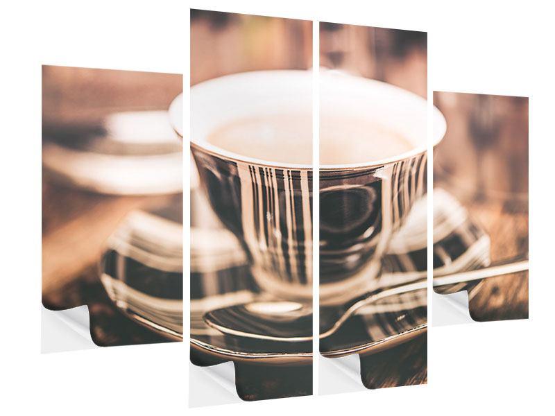 Klebeposter 4-teilig Der Kaffee ist fertig