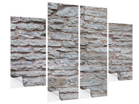 Klebeposter 4-teilig Steinmauer