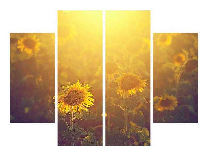 Klebeposter 4-teilig Sonnenblumen im goldenen Licht