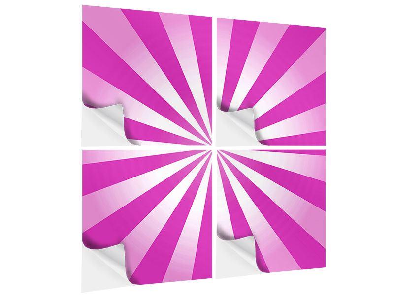 Klebeposter 4-teilig Abstrakt Lollipop