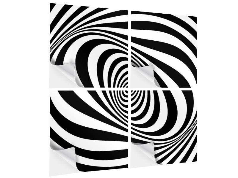 Klebeposter 4-teilig Abstrakte Wandbewegung