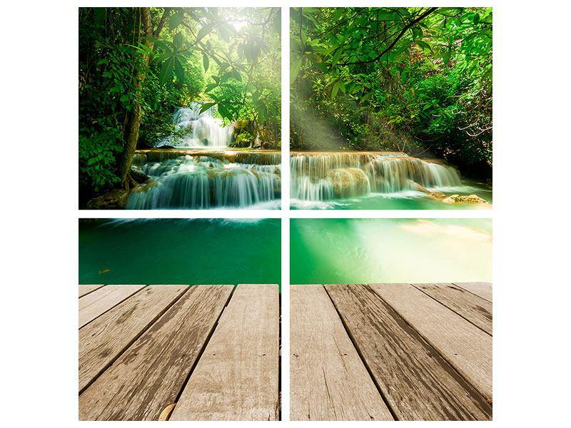 Klebeposter 4-teilig Wasserfall Thailand