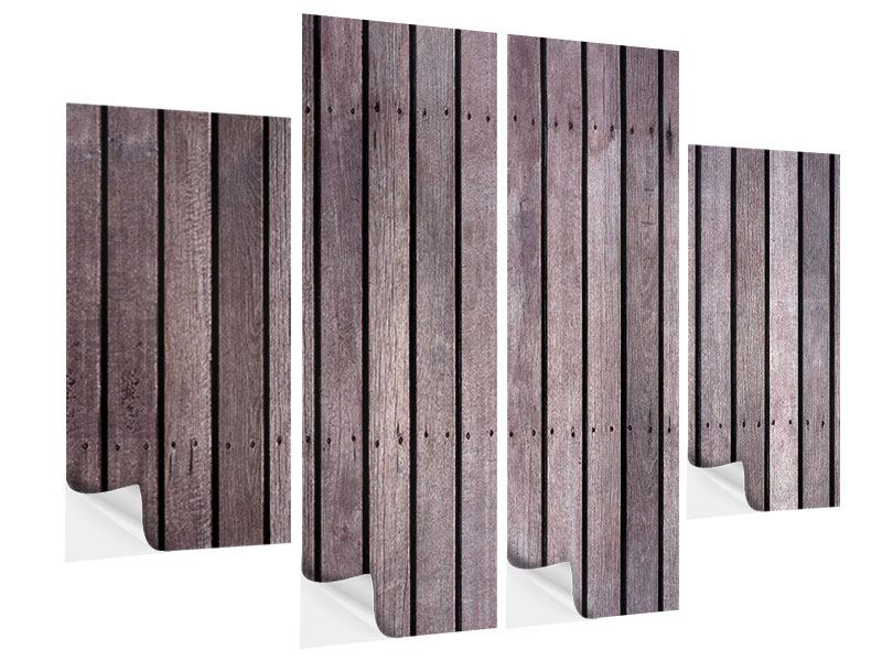 Klebeposter 4-teilig Holzwand
