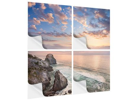 Klebeposter 4-teilig Romantischer Sonnenuntergang am Meer