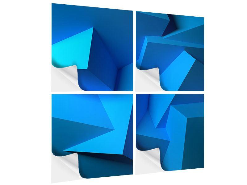 Klebeposter 4-teilig 3D-Abstraktion