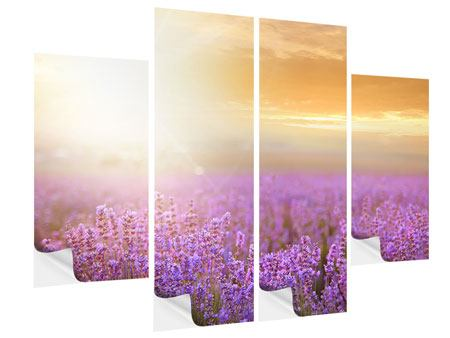 Klebeposter 4-teilig Sonnenuntergang beim Lavendelfeld