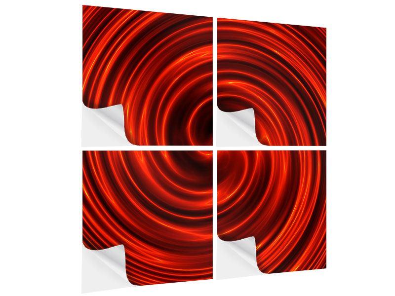 Klebeposter 4-teilig Abstrakte Rote Wirbel