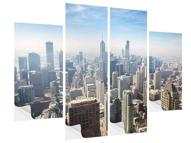 Klebeposter 4-teilig Wolkenkratzer Chicago