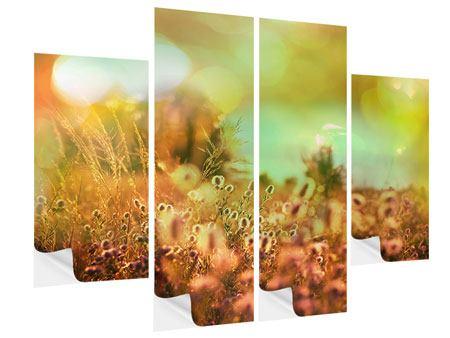 Klebeposter 4-teilig Blumenwiese in der Abenddämmerung