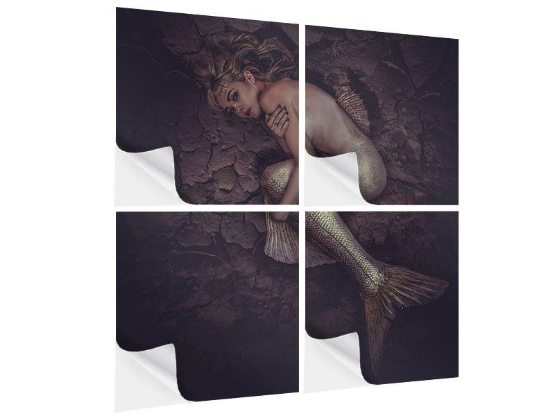 Klebeposter 4-teilig Meerjungfrau