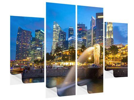 Klebeposter 4-teilig Skyline Singapur im Lichtermeer