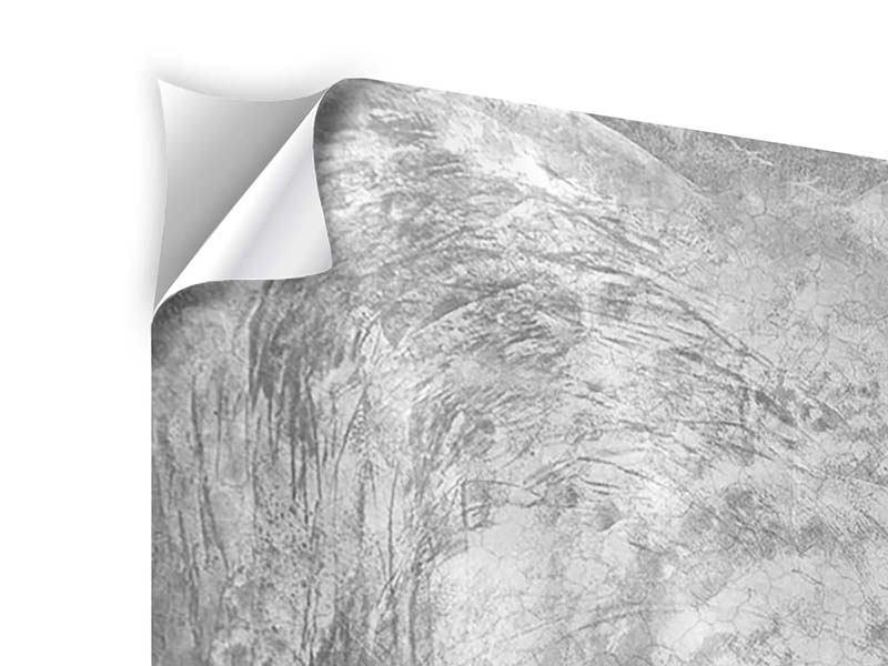 Klebeposter 4-teilig Wischtechnik in Grau