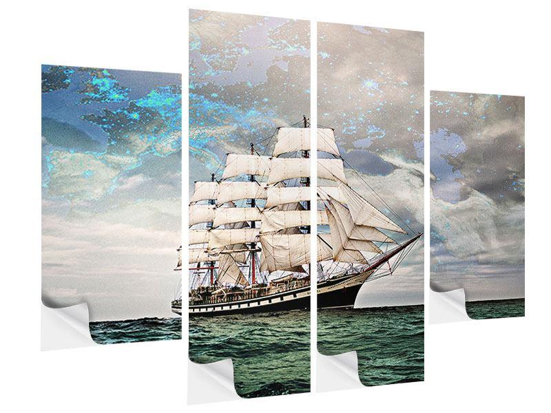 Klebeposter 4-teilig Segelschiff