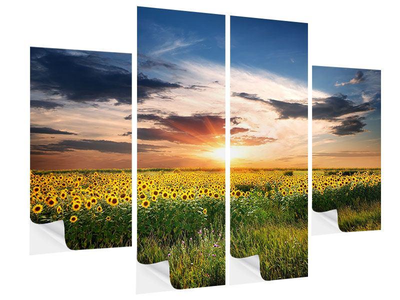 Klebeposter 4-teilig Ein Feld von Sonnenblumen