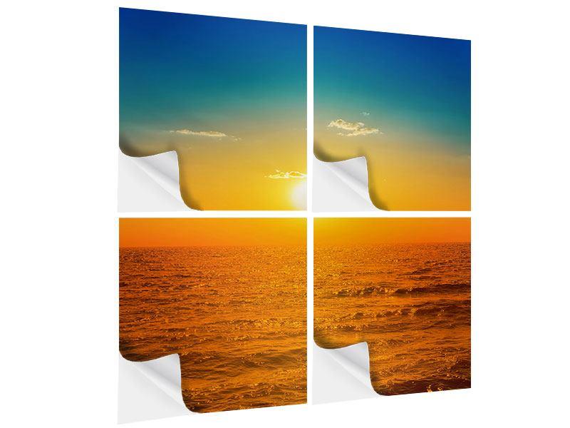 Klebeposter 4-teilig Das Meer im Sonnenuntergang