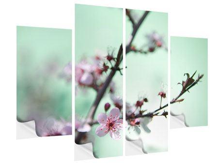 Klebeposter 4-teilig Die japanische Kirschblüte