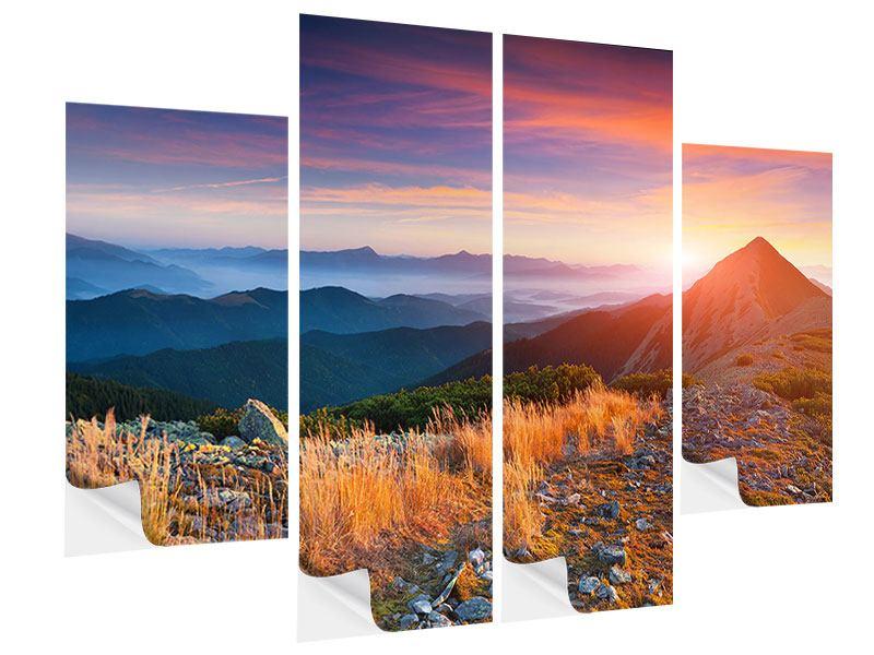 Klebeposter 4-teilig Sonnenuntergang in den Alpen