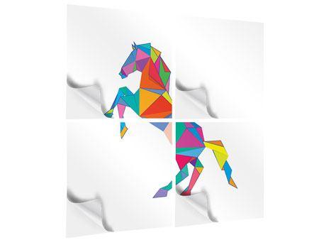 Klebeposter 4-teilig Origami Pferd