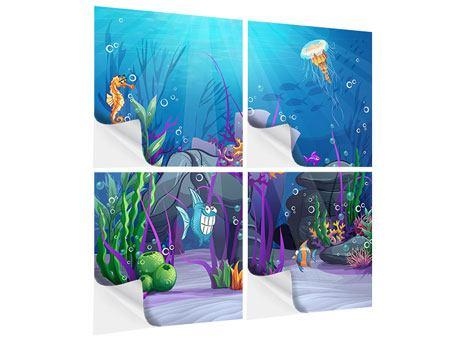 Klebeposter 4-teilig Unterwasserschatzsuche