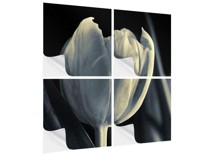 Klebeposter 4-teilig Schwarzweissfotografie XXL Tulpe