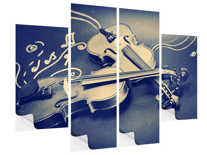 Klebeposter 4-teilig Geigen