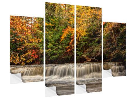 Klebeposter 4-teilig Herbst beim Wasserfall