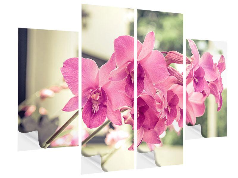 Klebeposter 4-teilig Ein Fensterplatz für die Orchideen