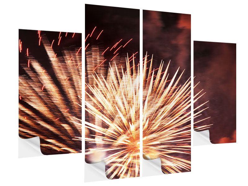 Klebeposter 4-teilig Close Up Feuerwerk