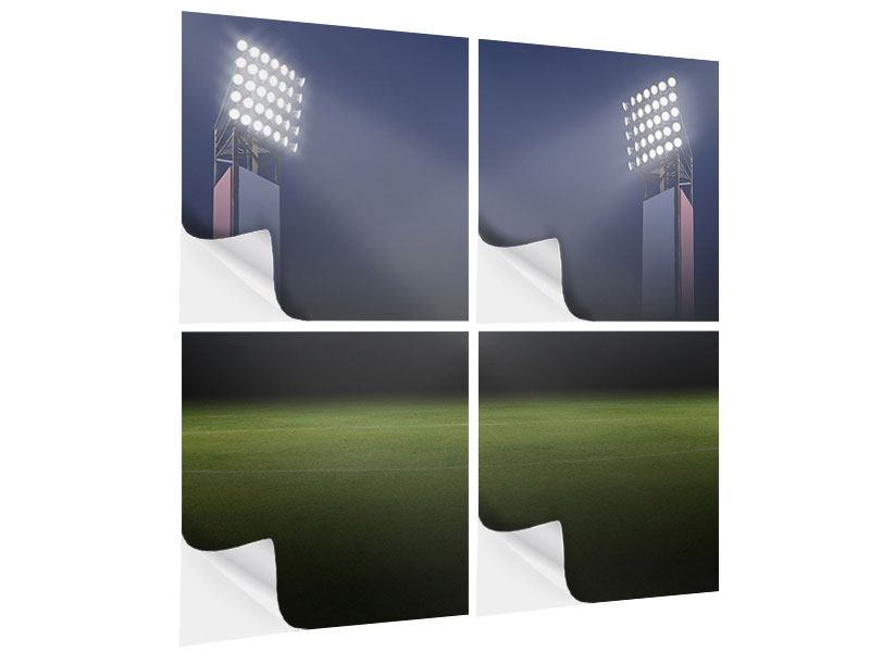 Klebeposter 4-teilig Fussballstadion