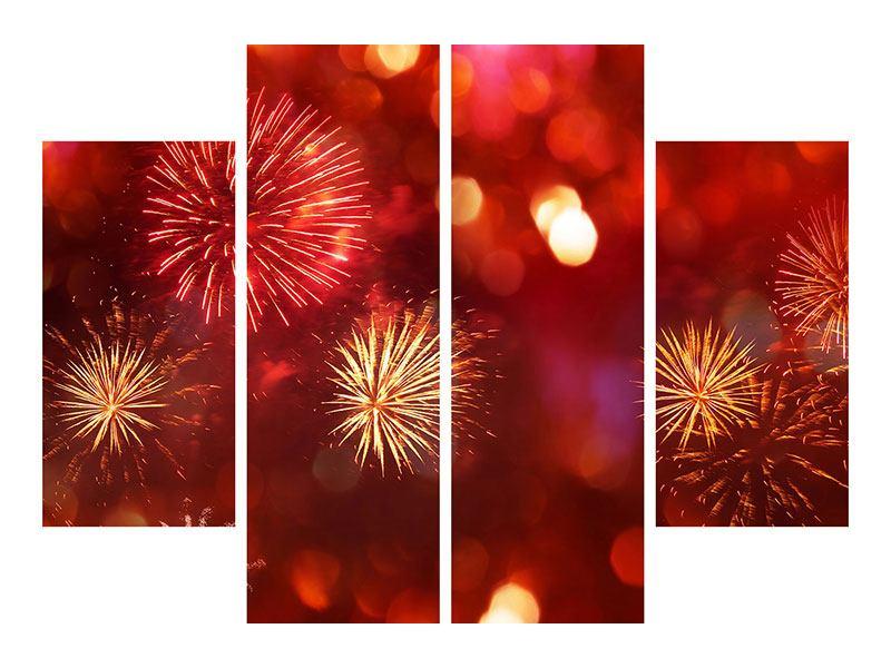 Klebeposter 4-teilig Buntes Feuerwerk