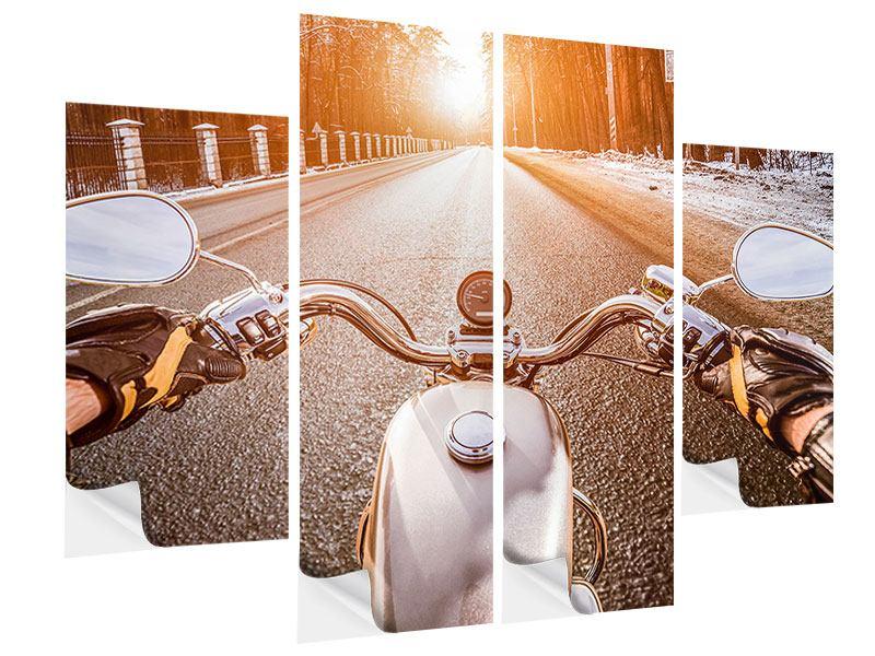 Klebeposter 4-teilig Auf dem Motorrad
