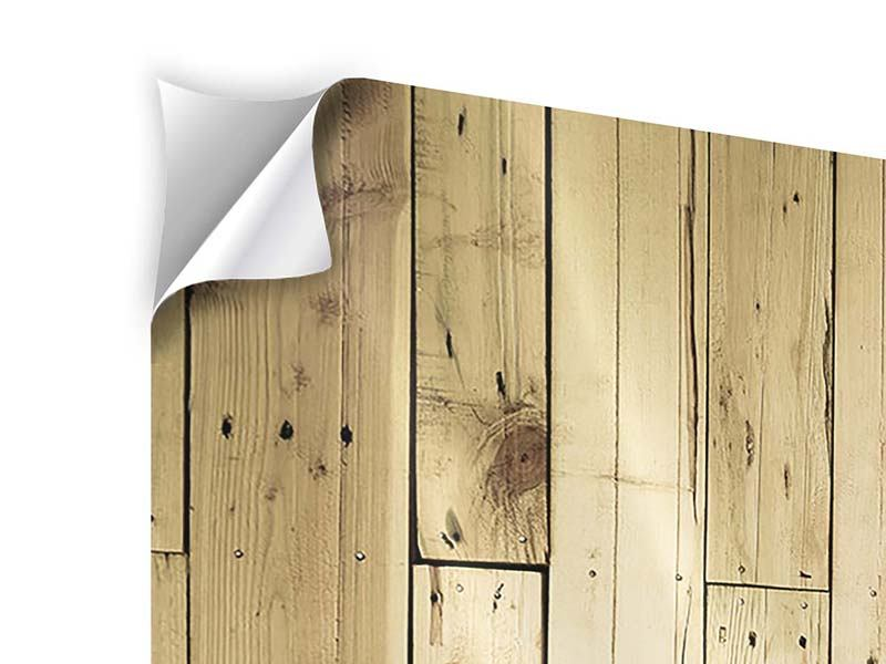 Klebeposter 4-teilig Holzpaneelen
