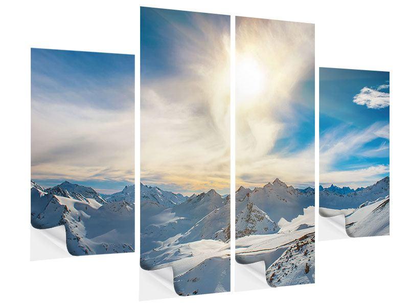 Klebeposter 4-teilig Über den verschneiten Gipfeln