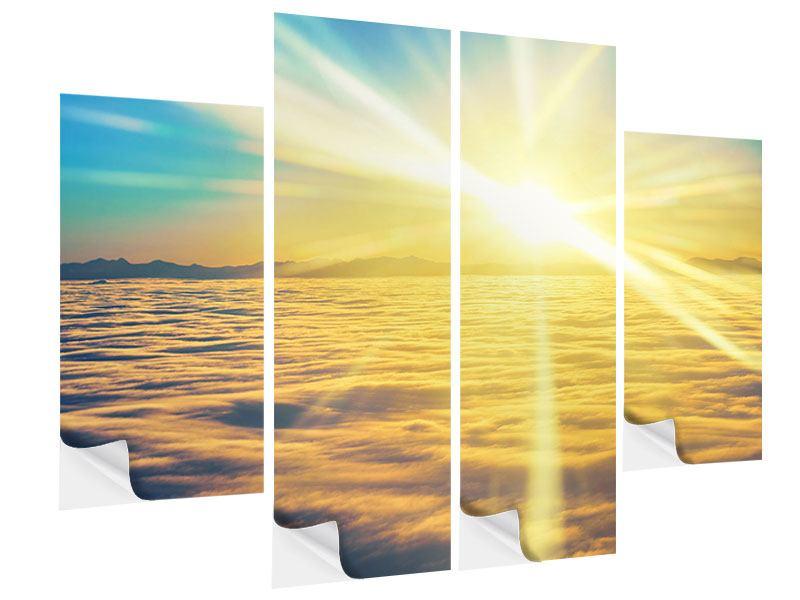Klebeposter 4-teilig Sonnenuntergang über den Wolken