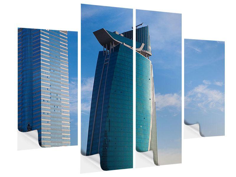Klebeposter 4-teilig Zwei Wolkenkratzer