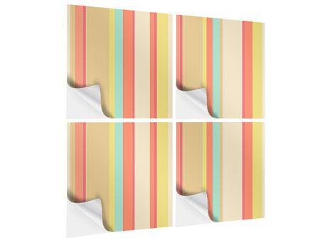 Klebeposter 4-teilig Pastell Streifen