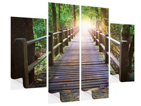Klebeposter 4-teilig Die Brücke im Wald