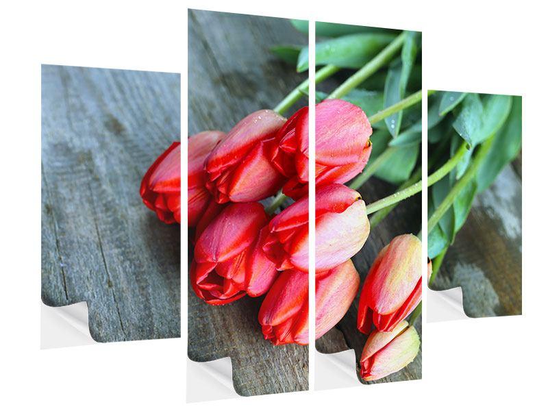 Klebeposter 4-teilig Der rote Tulpenstrauss