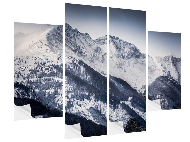 Klebeposter 4-teilig Die Berge der Schweiz