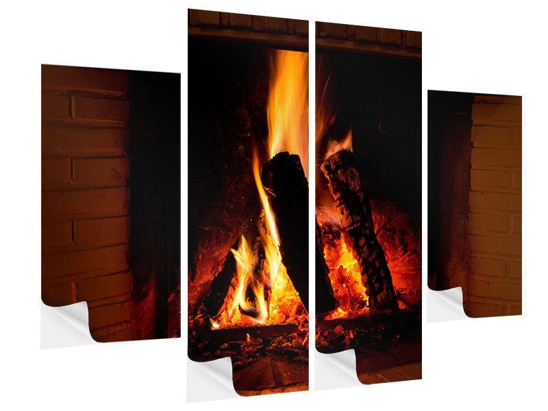 Klebeposter 4-teilig Feuer im Kamin
