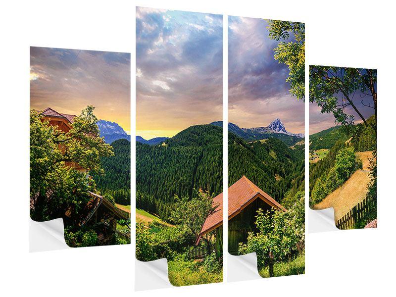 Klebeposter 4-teilig Schweizer Berge im Sommer