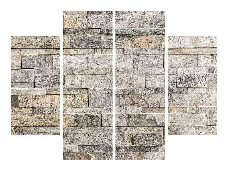 Klebeposter 4-teilig Elegante Steinmauer